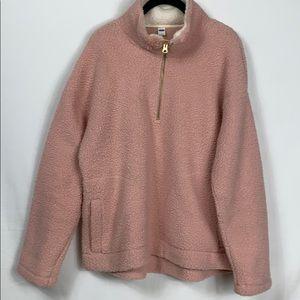 Old Navy pink/white Teddy 1/4 zip jacket size Lg